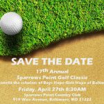 Save the date for golf tournament. Golf ball and grass in background